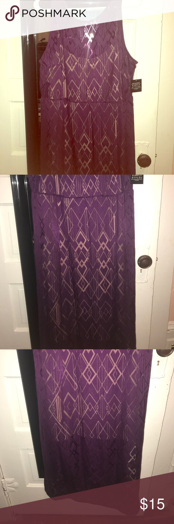 A two layer purple maxi dress A brand new with tags two layer purple maxi dress with slits on the sides and a zip up in the back of the dress Dresses Maxi