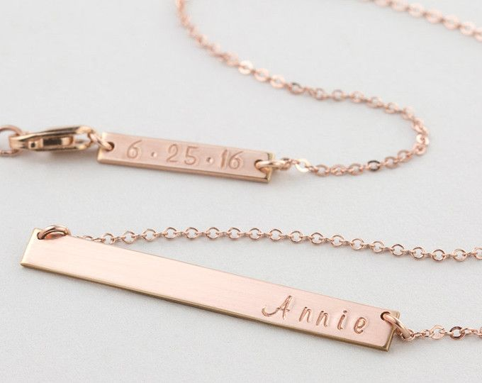 Rose, Gold zu füllen oder Bar-Halskette Sterlingsilber: Silber oder Gold Typenschild Halsschmuck, die benutzerdefinierte Hand gestempelt ist. Macht das perfekte Geschenk oder sinnvolle Stück mit Namen, Daten, Koordinaten, Initialen...   Kette: The ORIGINAL Bar Necklace • (155_32 Bar)  …………………………………. D E T A I L S: • Premium-Bar/Platte ist 32x5.5mm • benutzerdefinierte Hand-Stempeln macht es besonders • 100 % 14 k gold füllen, Sterling Silber oder rose gold füllen • alle stammen aus den USA…