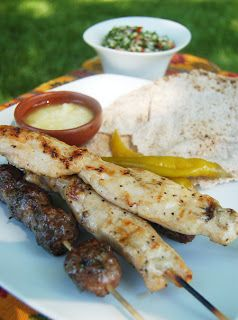 LEBANESE RECIPES: Lebanese Chicken Skewers (Shish Tahouk) with Garlic Sauce and Tabouleh recipe
