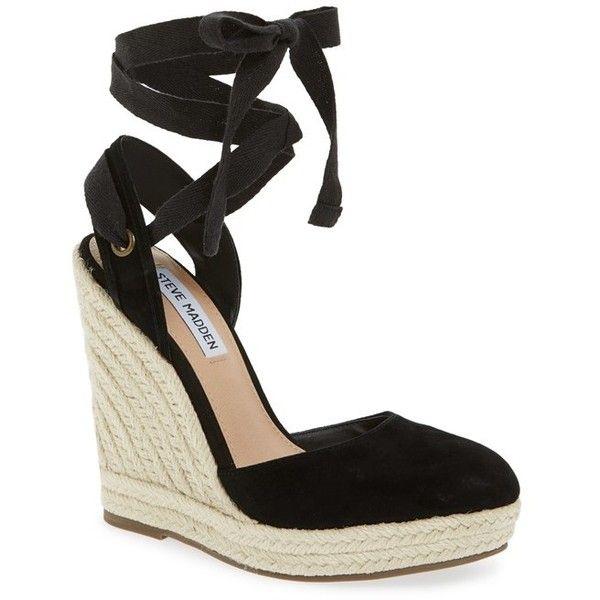 """Steve Madden 'Barre' Espadrille Platform Wedge, 4 3/4"""" heel (€81) ❤ liked on Polyvore featuring shoes, sandals, black suede, platform sandals, platform wedge sandals, black wedge espadrilles, wedge sandals and wedge espadrilles"""