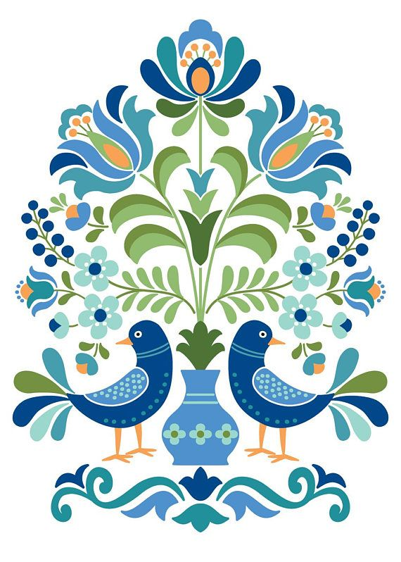 Hungarian Folk Art Blue Birds