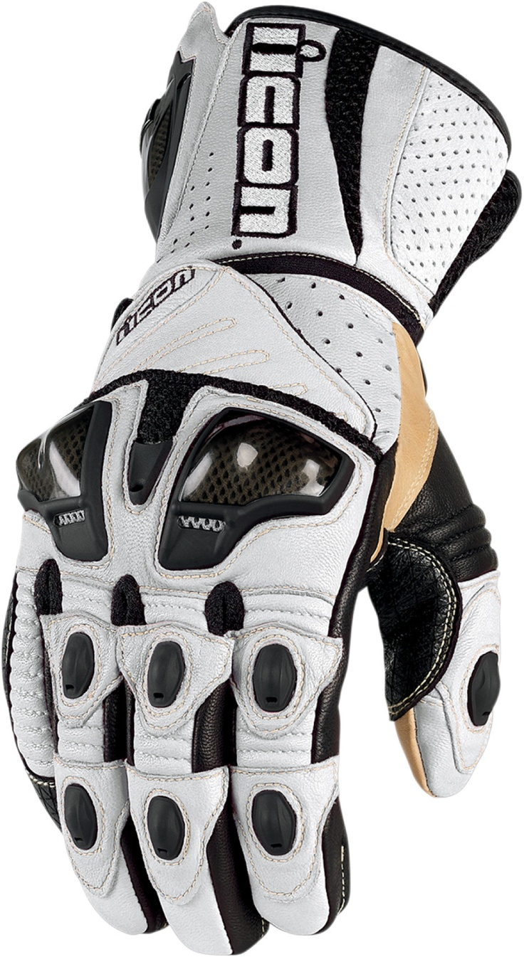 Icon justice leather motorcycle gloves - Overlord Long Glove White Motorcycle Iconmotorcycle