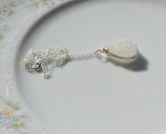 White druzy and sterling silver wire wrapped by starrydreams