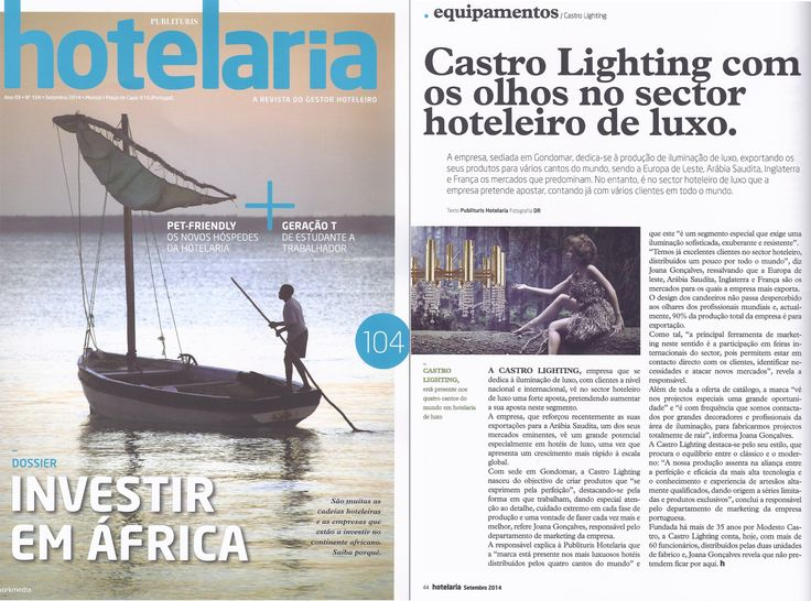 """Article about Castro Lighting, in September edition of the magazine """"Publituris Hotelaria"""".  In the picture, our exquisite ceiling lamp of the Safi collection."""