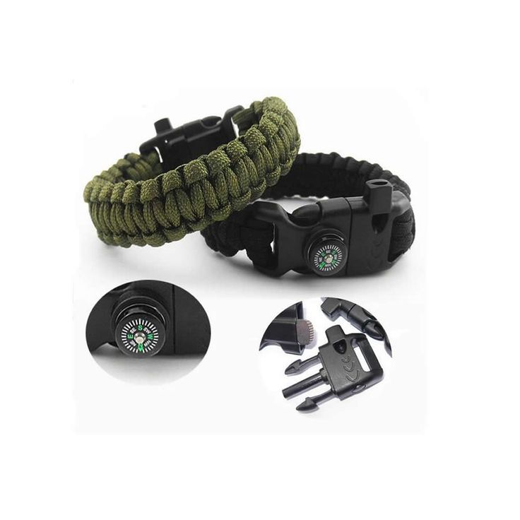 Hot Men's Survival Bracelet Compass Kits Camping Outdoor Rescue Army Cord Wristband Flint Fire Starter Buckle Whistle Bracelets