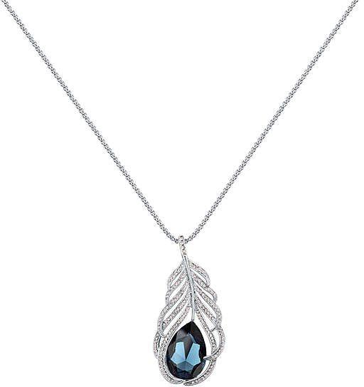 c59bdbb9d71cf Montana & Silvertone Feather Pendant Necklace With Swarovski ...