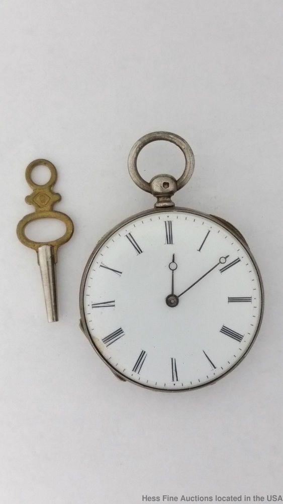 Ladies Civil War Era Key Wind & Set Sterling Silver Antique Pocket Watch