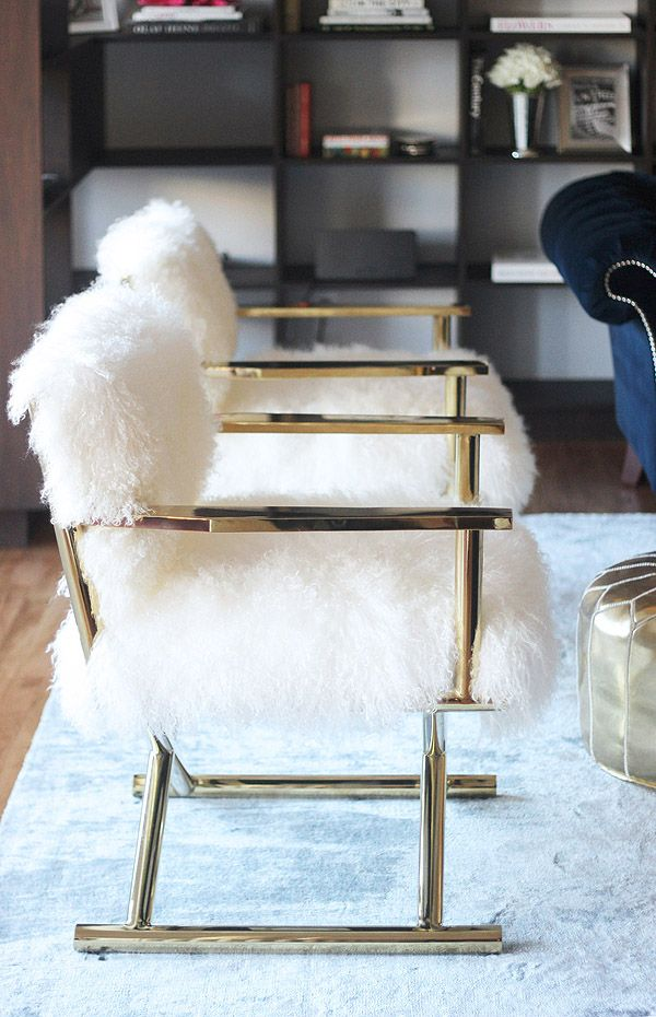 furry gold chairs