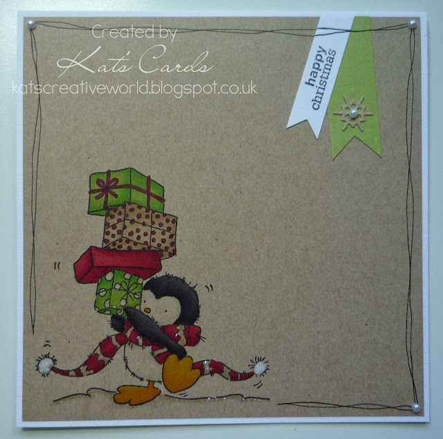 CAS christmas card design featuring LOTV penguin stamp coloured on Kraft card