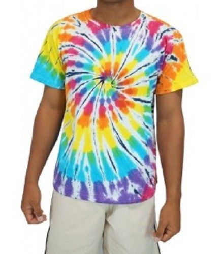 NEW-UNISEX-SHORT-SLEEVE-SHIRT-TWIST-TIE-DYE-T-SHIRT-MULTICOLOURED-SML-2XL