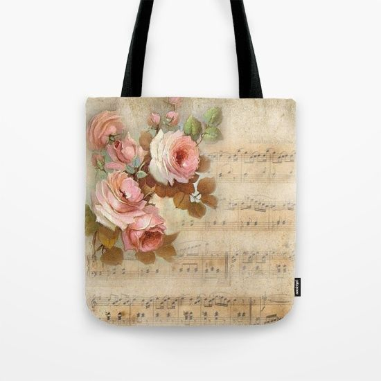 #vintage #music #roses #totebag Available in different #giftideas products. Check more at society6.com/julianarw