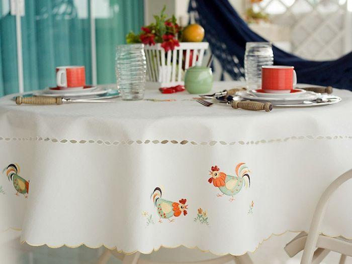 Toalha de mesa retangular bordada retangular para 6 lugares