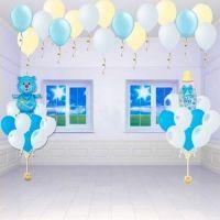 Оформление детской комнаты шарами на выписку из роддома, оформление шариками детской