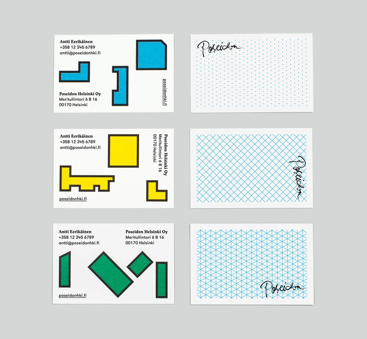 Business cards designed by Kokoro & Moi for architecture and construction business Poseidon Helsinki.