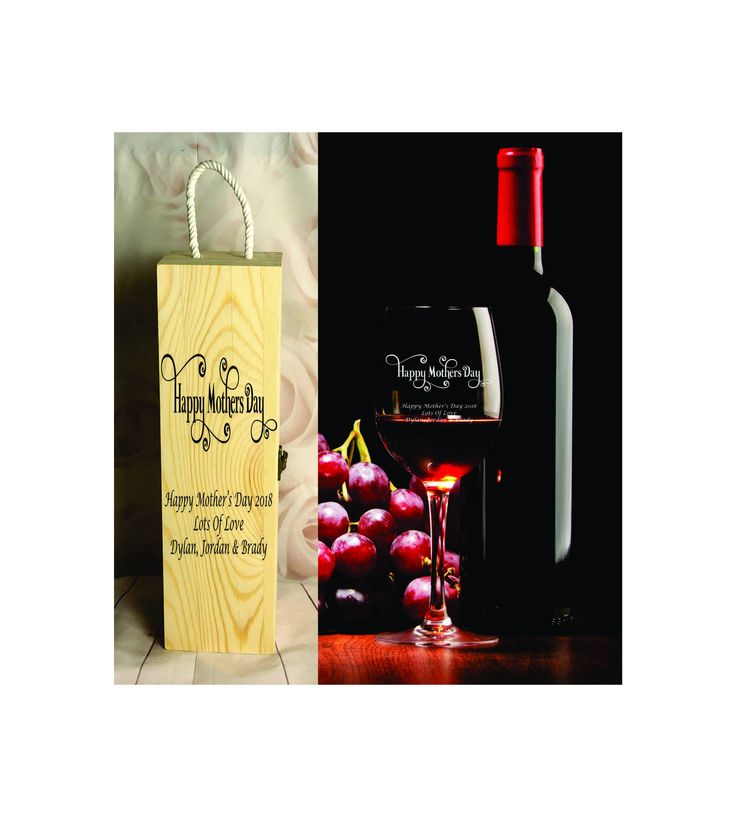 410ml Wine Glass + Wine Gift Box - Personalised Engraved - Mothers Day - Design 4 by SJDesigns78 on Etsy