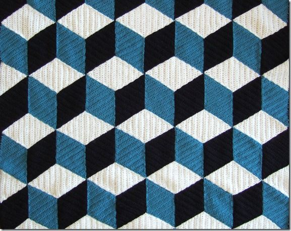 Another tumbling block kind of pattern using dc instead of sc