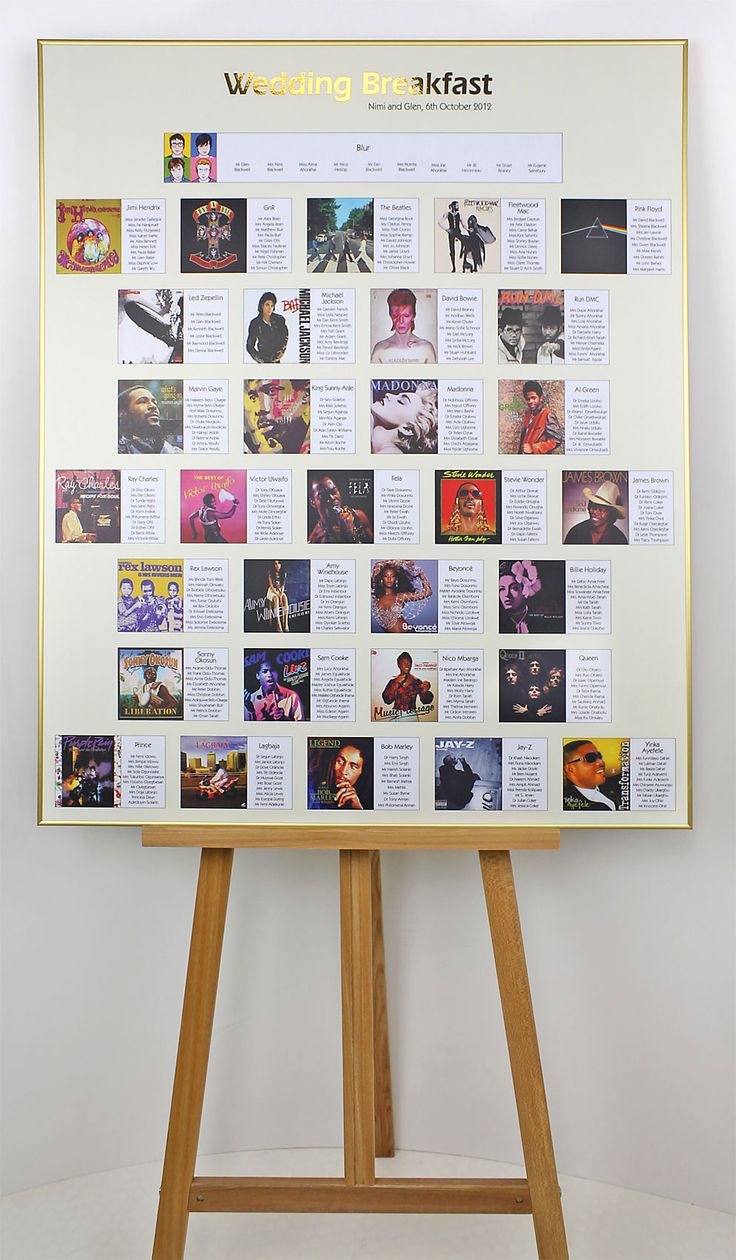 Music themed wedding table plan with album covers as the theme for each table.