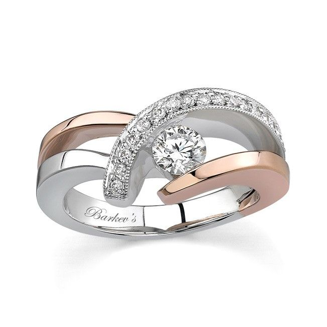 Two Tone Diamond Engagement Ring - 6722LPW - This unique feminine diamond engagement ring features a low  profile two-tone design that's big on looks.  The white gold band has rare rose gold accents that capture the essence of it's style and grace.  The channel set center diamond sits low in the shank and is accentuated by the pave-set diamonds that swirl beside it, beautifully detailed with mil-grain to highlight the diamonds.  Also available in yellow and white, 18k and Platinum.