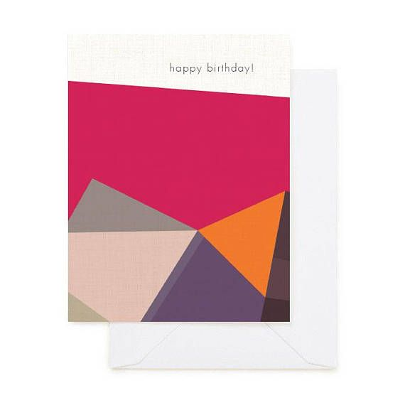 Happy Birthday Card Modern Greeting Card Bauhaus Inspired With