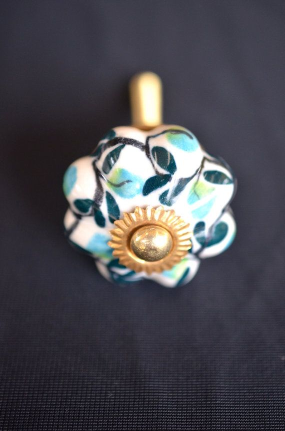 Ceramic and brass handle door white with branch pattern cabinet pumpkin shaped knob on Etsy, $5.72