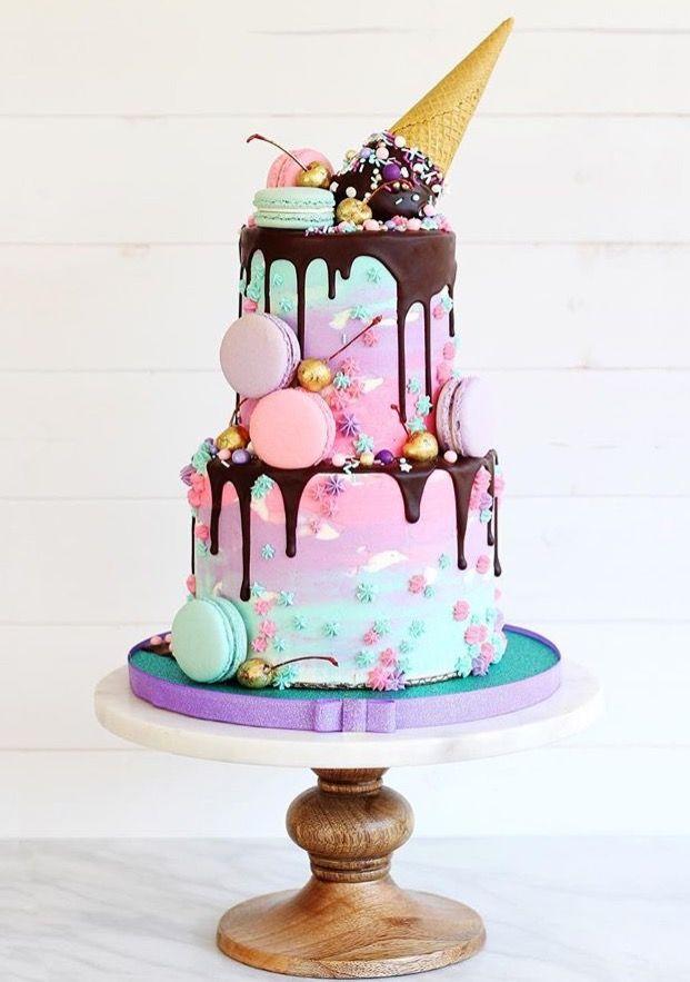 Ice cream and macaron drippy cake