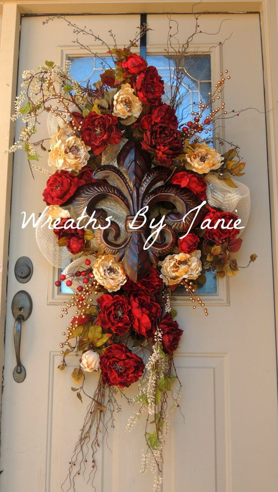 Door Swag  Swag  Fleur De LIs Door Swag  Red and by WreathsByJanie, $55.00