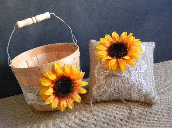 Sunflower Flower Girl Basket & Sunflower Ring by justforkeeps, $50.00