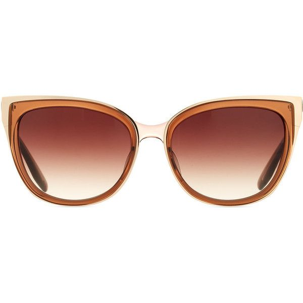 Barton Perreira Winette Gradient Cat-Eye Sunglasses, Brown ($600) ❤ liked on Polyvore featuring accessories, eyewear, sunglasses, cat eye sunnies, barton perreira eyewear, barton perreira sunglasses, cateye sunglasses and brown glasses