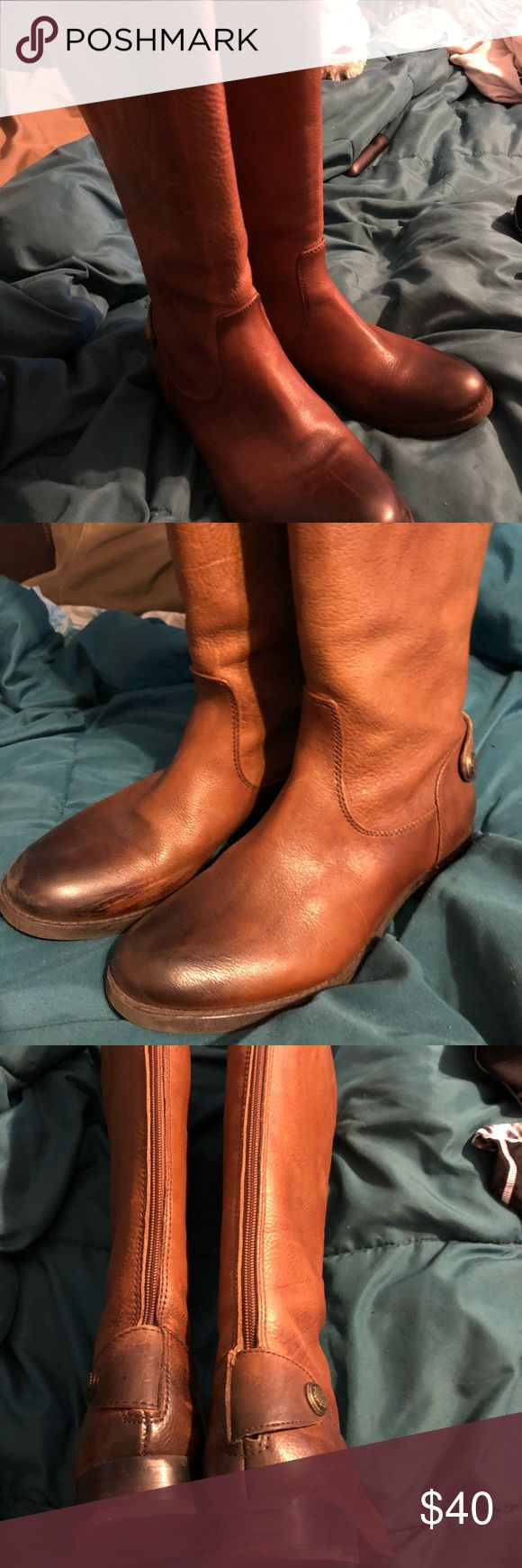 Leather boots by Arturo Chang like new Brown size 8.5 med wide calf bought new at Dillard's Worn very few times. Too hot where I live to wear. They are comfortable and a pretty leather. Riding boot style. Arturo Chiang Shoes