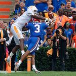 University of Florida Gators cornerback Marco Wilson breaks up a touchdown pass in the endzone during the first half as the Florida Gators defeat tne Tennessee Volunteers 26-20 at Ben Hill Griffin Stadium in Gainesville, Florida. September 16th, 2017.  Gator Country photo by David Bowie.