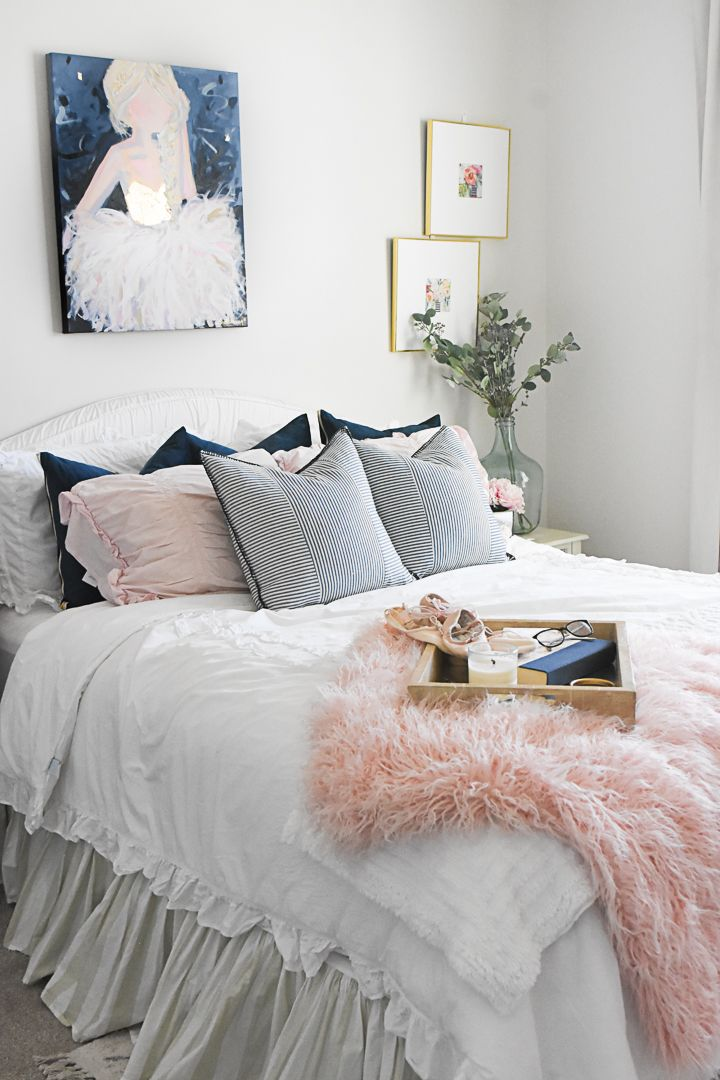 Navy And Pink Ballerina Paintings By C Brooke Ring Y Bedroom Decor