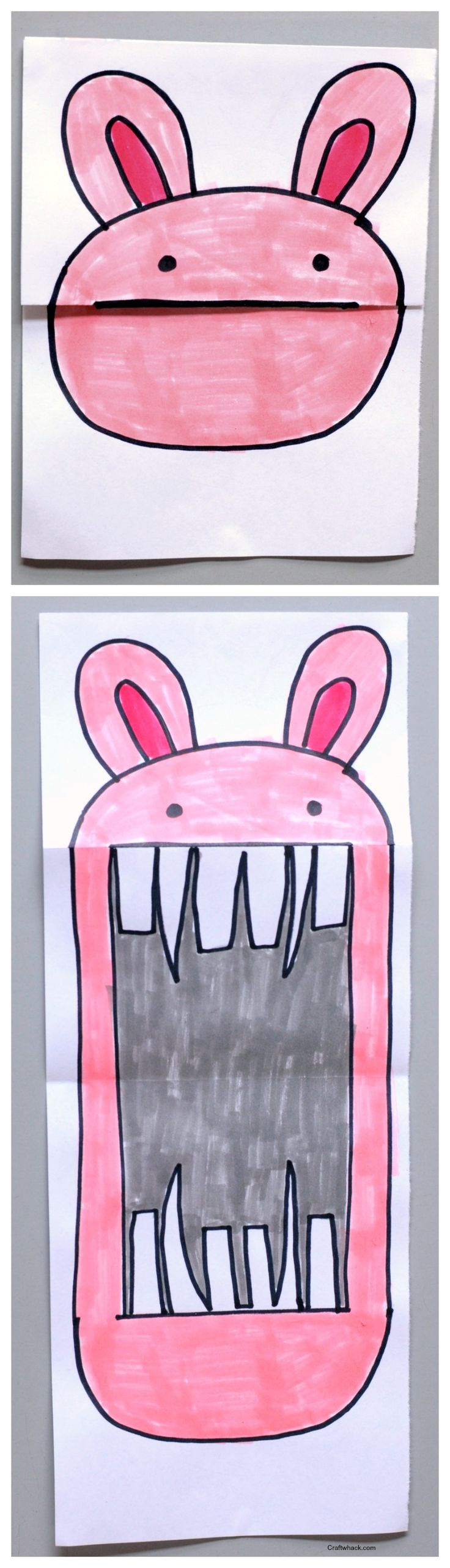 How fun! Can add teeth to sooo many different cute animals! Folded bunny paper art project • art projects for kids • easy art projects • Craftwhack.com