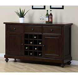 Update your home decor with a new wine rack/buffet table  Buffet is finished in a light Halifax brown color  Living room furniture holds 16 wine bottles up to 750 mL