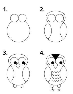 how to draw a step by step owl | For an even simpler version, this is the owl drawing steps provided in ...