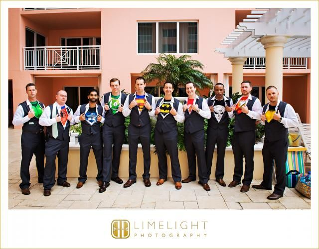 Superhero groomsmen, Superhero wedding, super hero groomsmen shirts, super hero wedding, Hyatt Regency Clearwater Beach, www.stepintothelimelight.com