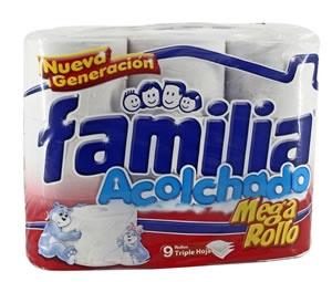 Papel higiénico Familia acolchado Mega rollo, triple hoja x 9 Und