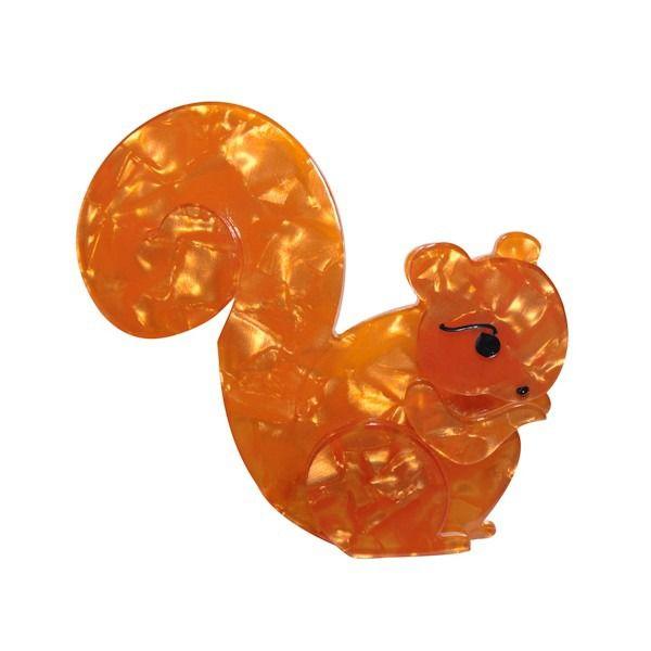 "Limited Edition Saskia Squirrel Brooch in orange. ""Saving acorns for a rainy day!"""