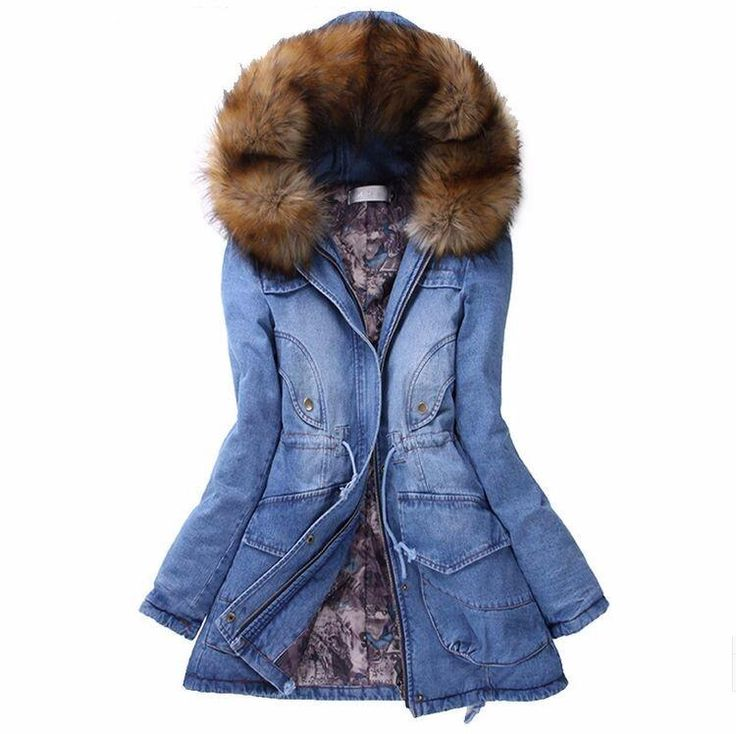 2016 Winter Coat Fashion Denim Outerwear Hooded Women Parka Slim Thickening Padded Jacket With Fur Collar Jean Jacket Plus Size From Foisons, $52.48 | Dhgate.Com