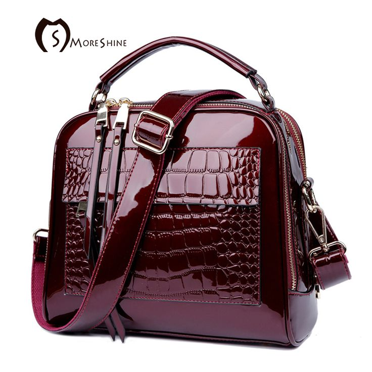 MORESHINE brand women Real Patent leather handbags Crocodile Fashion design shopper tote bag Female luxurious shoulder bags