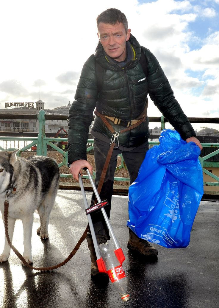 Now the former support worker from Blackburn is trudging 6,800 miles on coastal paths and roads at a rate of between six and ten miles a day, armed with a 60-pound survival kit and a litter grabber.  This week his mission brought him to Brighton as the 46-year-old scooped an award from environmental charity Keep Britain Tidy at the Hilton Brighton Metropole? hotel.