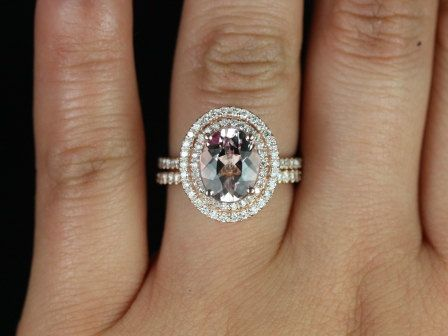 Rose Gold Thin Oval Morganite Double Halo  Wedding Ring. WANT.: 14Kt Rose, Double Halo, Halo Wedding Set, Gold Thin, Wedding Rings, Engagement Rings, Rose Gold