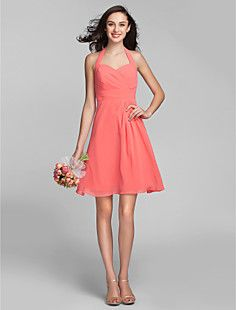 A-line Halter Knee-length Georgette Bridesmaid Dress (sd-311... – USD $ 89.99
