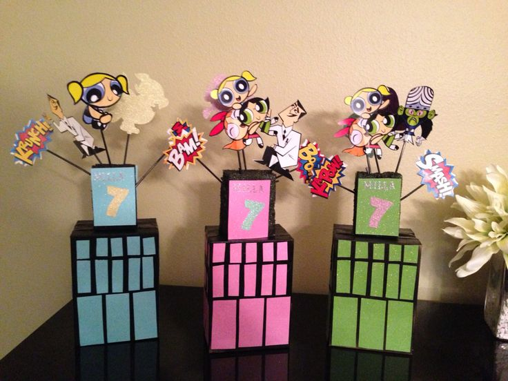 Power puff girls table decoration birthday party