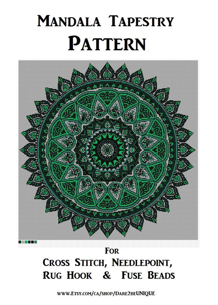 BIG Green Mandala Tapestry PATTERN, Cross Stitch, Needlepoint Embroidery Rug Hook Designs,  Yoga Perler Patterns, Hama Crafts, Download PDF by Dare2beUNIQUE on Etsy
