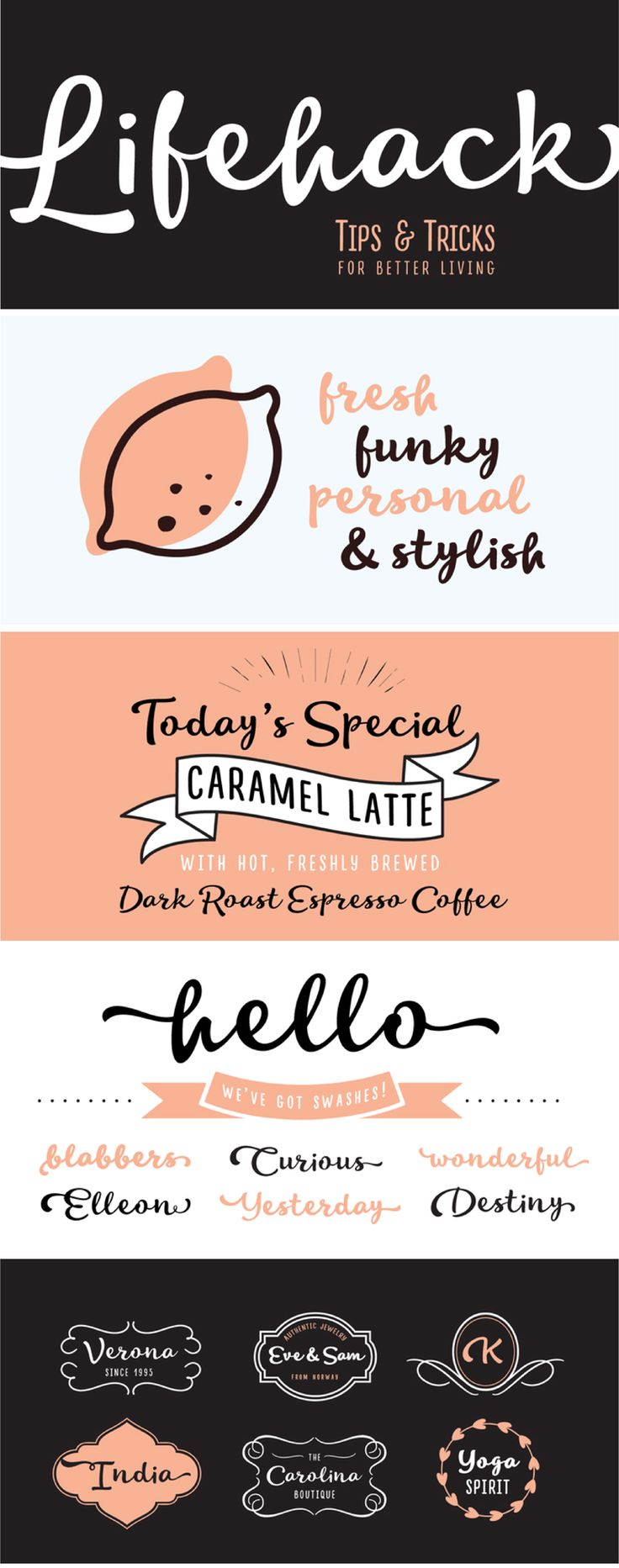 A casual script font family with a huge personality that works easily together to create visually appealing logos, packaging, presentations or headlines.