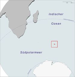 Location of the Kerguelen Islands in the Southern Ocean