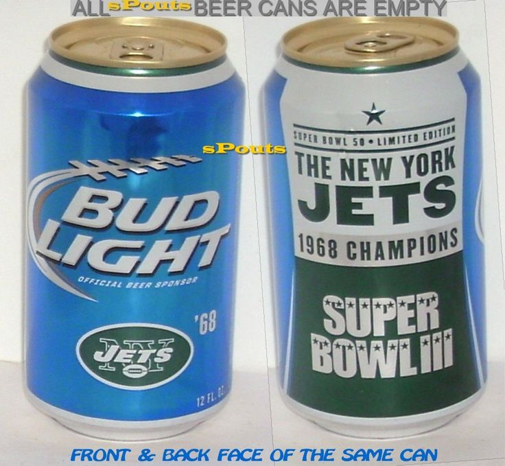 1968 NEW YORK JETS SUPERBOWL #3 BUD LIGHT 2015 BEER CAN NFL NY FOOT