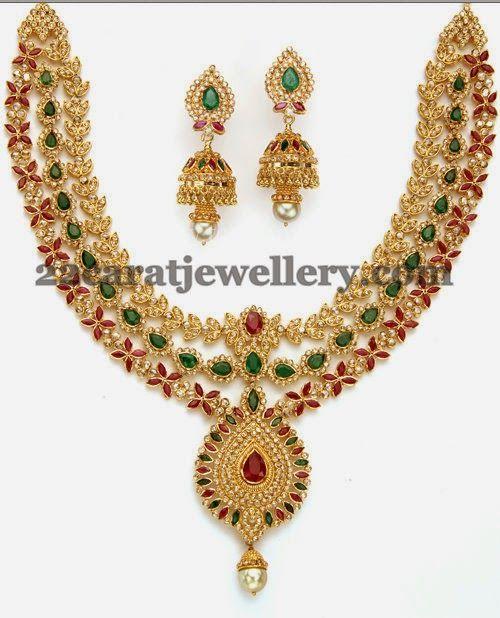 Jewellery Designs: Uncut Diamond Floral Set by Totaram