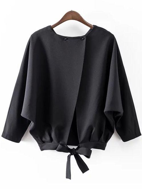 #AdoreWe #ROMWE Blouses - Designer ROMWE Black Batwing Sleeve Bow Split Blouse - AdoreWe.com