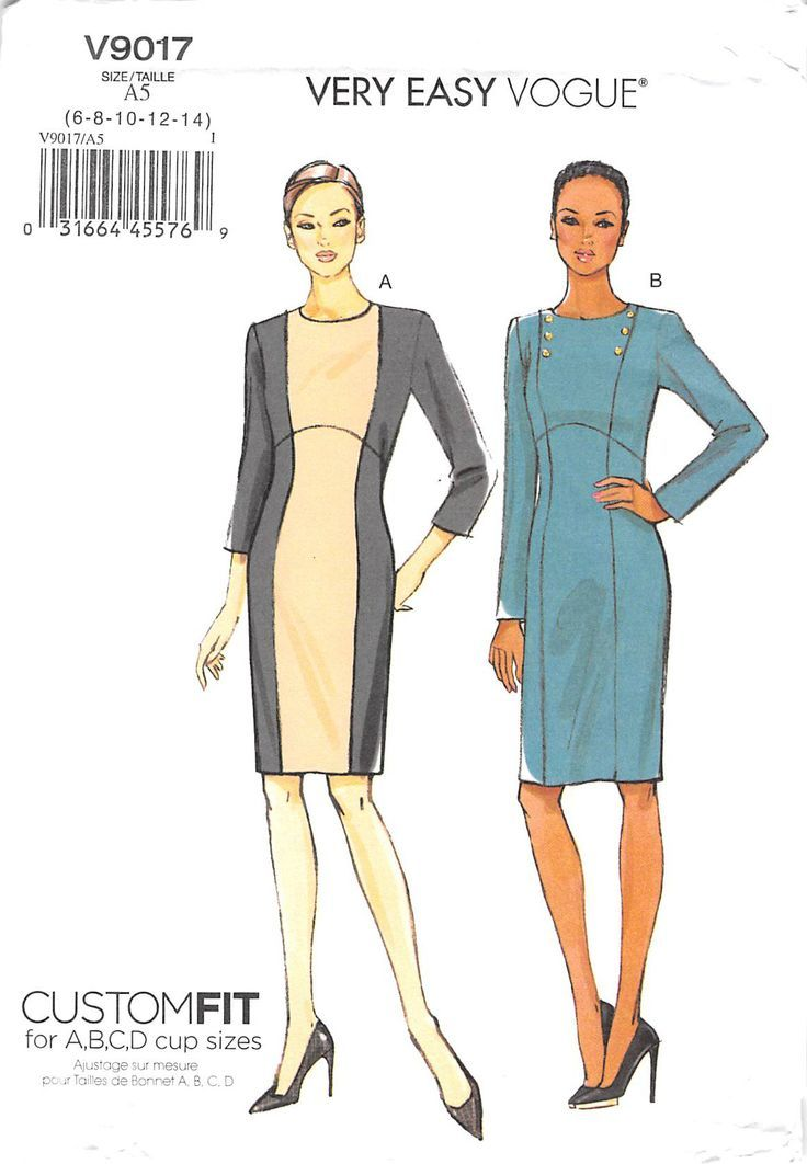 Fitted dress (close-fitting through bust) has seam detail and back zipper. B: button trim. Note: separate pattern pieces are included for cup sizes A, B, C, D. Our PRE-OWNED patterns are all UNCUT (un